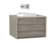61453 - Frame Washbasin Unit, 60 cm, with 1 drawer, with countertop square washbasin, Matte Taupe