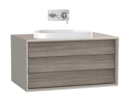 61456 - Frame Washbasin Unit, 80 cm, with 1 drawer, with countertop TV-shape washbasin, Matte Taupe