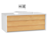 61457 - Frame Washbasin Unit, 100 cm, with 1 drawer, with countertop TV-shape washbasin, Matte White