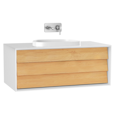 Frame Washbasin Unit, 100 cm, with 1 drawer, with countertop TV-shape washbasin, Matte White