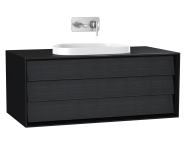 61458 - Frame Washbasin Unit, 100 cm, with 1 drawer, with countertop TV-shape washbasin, Matte Black