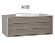 61459 - Frame Washbasin Unit, 100 cm, with 1 drawer, with countertop TV-shape washbasin, Matte Taupe
