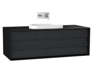 61461 - Frame Washbasin Unit, 120 cm, with 1 drawer, with countertop TV-shape washbasin, Matte Black