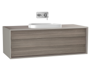61462 - Frame Washbasin Unit, 120 cm, with 1 drawer, with countertop TV-shape washbasin, Matte Taupe