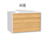 61463 - Frame Washbasin Unit, 80 cm, with 2 drawers, with countertop TV-shape washbasin, Matte White