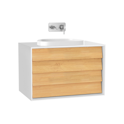 Frame Washbasin Unit, 80 cm, with 2 drawers, with countertop TV-shape washbasin, Matte White