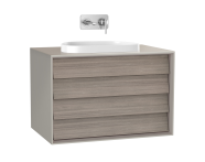61465 - Frame Washbasin Unit, 80 cm, with 2 drawers, with countertop TV-shape washbasin, Matte Taupe