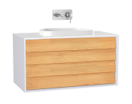 61466 - Frame Washbasin Unit, 100 cm, with 2 drawers, with countertop TV-shape washbasin, Matte White