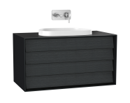 61467 - Frame Washbasin Unit, 100 cm, with 2 drawers, with countertop TV-shape washbasin, Matte Black