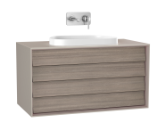 61468 - Frame Washbasin Unit, 100 cm, with 2 drawers, with countertop TV-shape washbasin, Matte Taupe