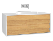 61469 - Frame Washbasin Unit, 120 cm, with 2 drawers, with countertop TV-shape washbasin, Matte White