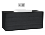 61470 - Frame Washbasin Unit, 120 cm, with 2 drawers, with countertop TV-shape washbasin, Matte Black