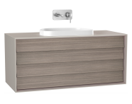 61471 - Frame Washbasin Unit, 120 cm, with 2 drawers, with countertop TV-shape washbasin, Matte Taupe