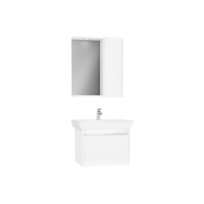 Step Flatpack Set, 65 cm, with drawer, (Washbasin Unit, Mirror with Side Cabinet), White High Gloss