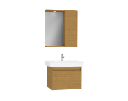 61527 - Step Flatpack Set, 65 cm, with drawer, (Washbasin Unit, Mirror with Side Cabinet), Teak