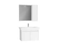 61532 - Step Flatpack Set, 85 cm, with doors, (Washbasin Unit, Mirror with Side Cabinet), White High Gloss