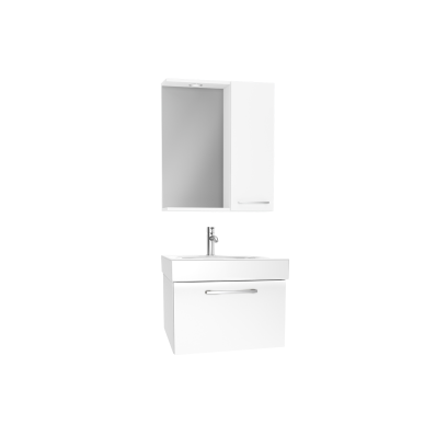 Optima Flatpack Set, 60 cm, with drawer, (Washbasin Unit, Mirror with Side Cabinet), White High Gloss