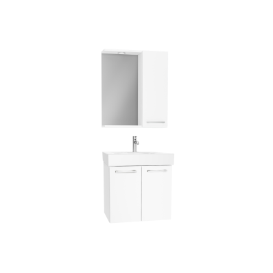 Optima Flatpack Set, 60 cm, with doors, (Washbasin Unit, Mirror with Side Cabinet), White High Gloss
