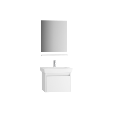 Step Flatpack Set, 65 cm, with drawer, (Washbasin Unit, mirror, shelf), White High Gloss