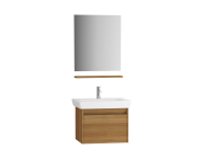 61595 - Step Flatpack Set, 65 cm, with drawer, (Washbasin Unit, mirror, shelf), Teak