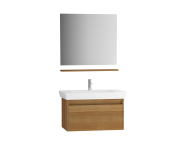 61597 - Step Flatpack Set, 85 cm, with drawer, (Washbasin Unit, mirror, shelf), Teak