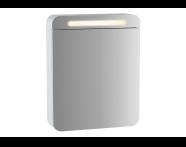 61666 - Sento Aydınlatmalı Dolaplı Ayna, 50 cm, Mat Beyaz, sol