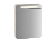 61667 - Sento Illuminated Mirror Cabinet, 50 cm, Matte Cream, left