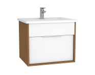 61900 - Integra Washbasin Unit, 60 cm, with 1 drawer, with vanity basin, White High Gloss & Bamboo