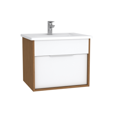 Integra Washbasin Unit, 60 cm, with 1 drawer, with vanity basin, White High Gloss & Bamboo