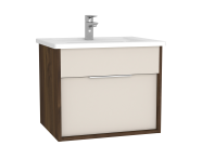 61901 - Integra Washbasin Unit, 60 cm, with 1 drawer, with vanity basin, Cashmere & Metallic Walnut