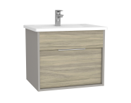 61902 - Integra Washbasin Unit, 60 cm, with 1 drawer, with vanity basin, Grey Elm & Gritstone