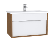 61903 - Integra Washbasin Unit, 80 cm, with 1 drawer, with vanity basin, White High Gloss & Bamboo