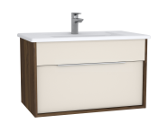 61904 - Integra Washbasin Unit, 80 cm, with 1 drawer, with vanity basin, Cashmere & Metallic Walnut