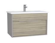 61905 - Integra Washbasin Unit, 80 cm, with 1 drawer, with vanity basin, Grey Elm & Gritstone