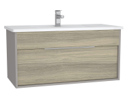 61906 - Integra Washbasin Unit, 100 cm, with 1 drawer, with vanity basin, White High Gloss & Bamboo