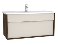 61907 - Integra Washbasin Unit, 100 cm, with 1 drawer, with vanity basin, Cashmere & Metallic Walnut