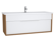 61909 - Integra Washbasin Unit, 120 cm, with 1 drawer, with vanity basin, White High Gloss & Bamboo