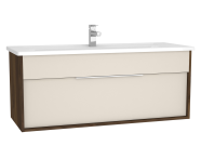 61910 - Integra Washbasin Unit, 120 cm, with 1 drawer, with vanity basin, Cashmere & Metallic Walnut