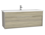 61911 - Integra Washbasin Unit, 120 cm, with 1 drawer, with vanity basin, Grey Elm & Gritstone