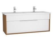 61912 - Integra Washbasin Unit, 120 cm, with 1 drawer, with double washbasin, White High Gloss & Bamboo