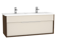 61913 - Integra Washbasin Unit, 120 cm, with 1 drawer, with double washbasin, Cashmere & Metallic Walnut