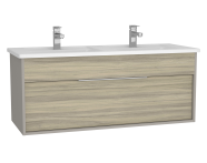 61914 - Integra Washbasin Unit, 120 cm, with 1 drawer, with double washbasin, Grey Elm & Gritstone