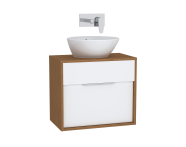 61915 - Integra Washbasin Unit, 60 cm, with 1 drawer, for countertop basins, with 34 cm depth, White High Gloss & Bamboo