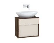 61916 - Integra Washbasin Unit, 60 cm, with 1 drawer, for countertop basins, with 34 cm depth, Cashmere & Metallic Walnut