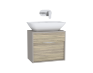 61917 - Integra Washbasin Unit, 60 cm, with 1 drawer, for countertop basins, with 34 cm depth, Grey Elm & Gritstone