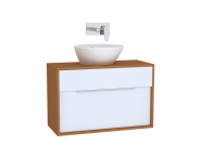 61918 - Integra Washbasin Unit, 80 cm, with 1 drawer, for countertop basins, with 34 cm depth, White High Gloss & Bamboo