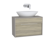 61919 - Integra Washbasin Unit, 80 cm, with 1 drawer, for countertop basins, with 34 cm depth, Cashmere & Metallic Walnut