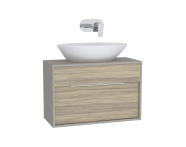 61920 - Integra Washbasin Unit, 80 cm, with 1 drawer, for countertop basins, with 34 cm depth, Grey Elm & Gritstone