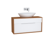 61921 - Integra Washbasin Unit, 100 cm, with 1 drawer, for countertop basins, with 34 cm depth, White High Gloss & Bamboo