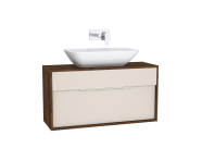 61922 - Integra Washbasin Unit, 100 cm, with 1 drawer, for countertop basins, with 34 cm depth, Cashmere & Metallic Walnut